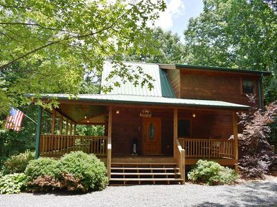 Photo for DANCING BEAR- 3BR/3BA- MOUNTAIN VIEW CABIN SLEEPS 6, GAS GRILL, WIFI, FIRE PIT, GAS LOG FIREPLACE, J