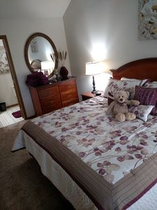 master bedroom has king-size bed and a 55 in Smart TV