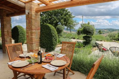 Dining alfresco at Casa Carina is wonderful with the amazing local food