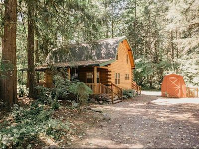 Photo for Dog-friendly cabin in the woods w/ private hot tub & shared pool/tennis!