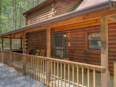 Photo for Dog-friendly cabin w/ fireplace, hot tub, grill & private deck