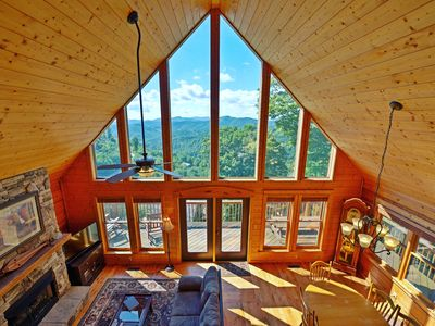 Photo for An amazing upscale cabin with mountain views, hot tub, and more! Includes a Biltmore Pass!!