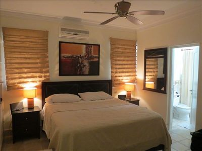 Master Bedroom with designer lamps, King Size Bed