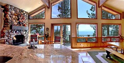 Gourmet Kitchen with panoramic views, fireplace and sitting area