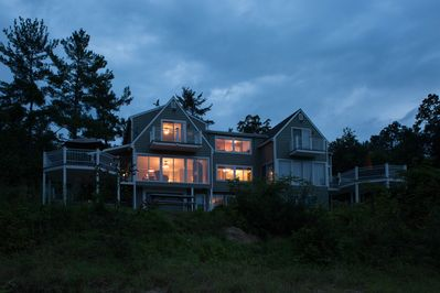 The Cliffside Falls home is beautiful, even at night!