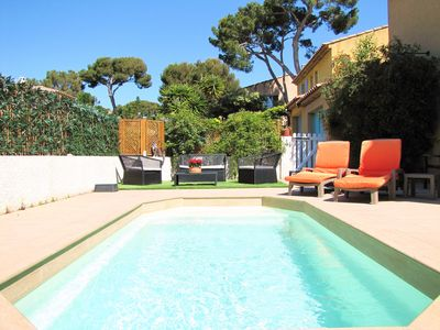 Photo for Beachfront villa, 50 meters from the beaches, with private pool
