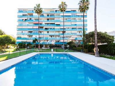 Photo for Air-Conditioned Apartment with Terrace, Sea View, Pool, Garden & Wi-Fi; Parking Available, 1 Pet Allowed