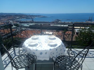 Photo for Luxury apartment with panoramic sea view in a villa near the city center
