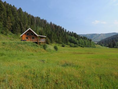 Photo for Log cabin on 20 acres with great views! Hot Tub!