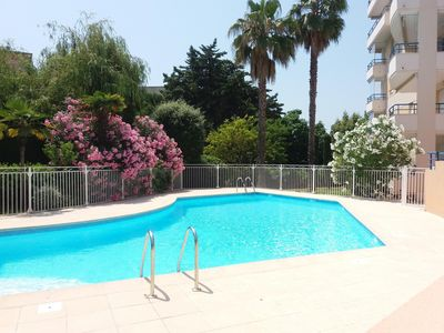 Photo for Frejus beach 2 rooms 37 m2 residence standing with swimming pool parking in the basement