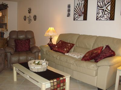 Comfortable leather recliners and sofa.   Relaxation to the max!