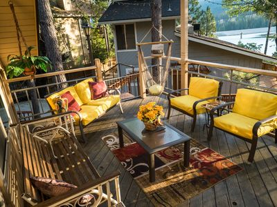 The 12x24' deck is a comfortable setting for socializing after an active day.
