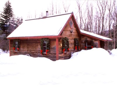 Photo for Romantic Cabin: Pet Friendly, Wood stove, 1 mile from Stowe, 1 Bdrm + Loft