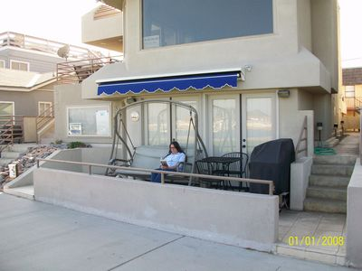 Front Porch Entrance and Patio, right on the Beach