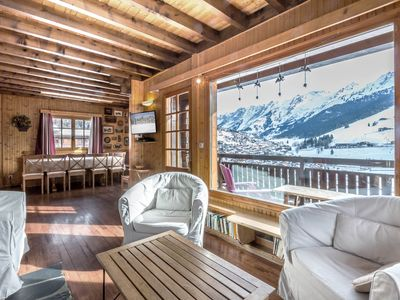 Photo for 10 people chalet, panoramic view, slopes nearby, fireplace, garage