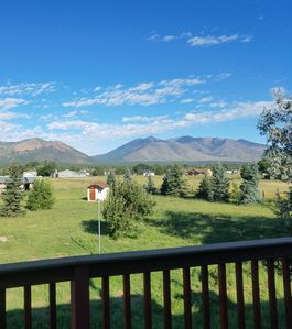 Backyard View - Panoramic view of Mt. Elden and the Peaks from the backyard.