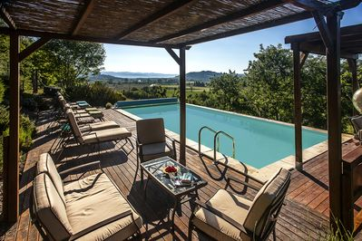 Heated Pool with fabulous views across the valley