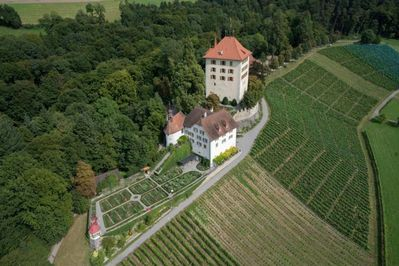 Castle of Heidegg from West, the holiday apartment ist in the mansion near the chapel