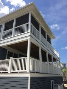 Back decks at 8 Sandpiper Ct. - the top deck is a screened-in porch.