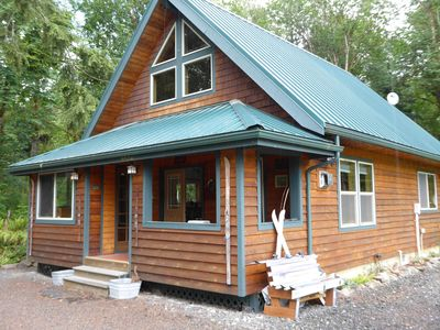 Front of cabin, nice covered porch for ski storage and enjoying the property.