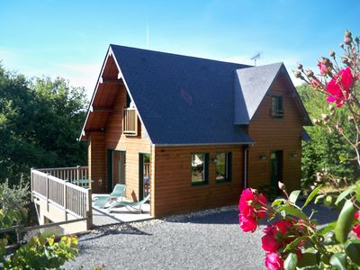 Photo for wooden chalet, quiet, in the countryside, with Norman bath