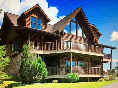 Photo for Huge Smoky Mtn VIEWS, Lodge sleeps 26! Movie Rm, HotTub, Game Rm New fire pit!