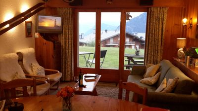 Photo for Verbier Chalet Apartment with Mountain Views, Patio, Garage, close Medran Lifts
