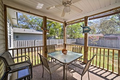 Spend mornings and evenings relaxing on the covered porch.