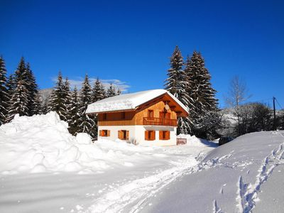 Photo for Ski Chalet with sauna, jacuzzi near ski lifts, in tranquil location near Megeve