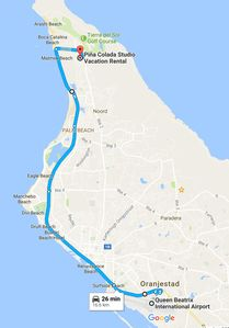 Road map from Airport to Piña Colada Studio Vacation Rental