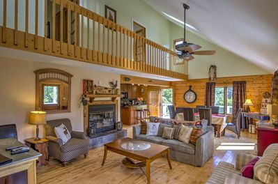 The cabin offers guests a rustic interior.