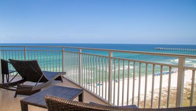 Photo for Rare! Wraparound Sunset View Balcony! 2/2 Luxury Condo located near Pier Park!
