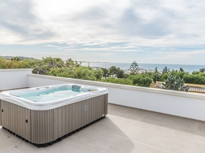Photo for Panoramic sea view penthouse with whirlpool, near Gallipoli