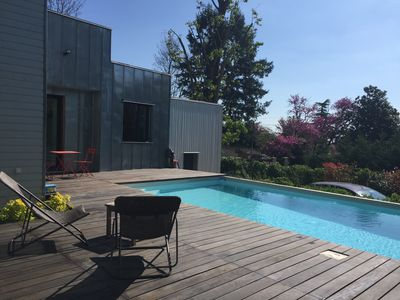 Photo for Contemporary villa private pool 8 x 4.5. Lazing relaxing near Lyon