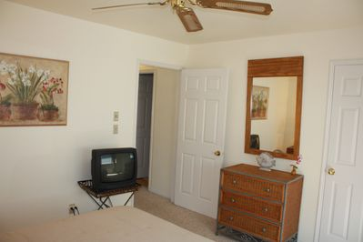 Bedroom provides TV, dresser and large walk in closet for guests.