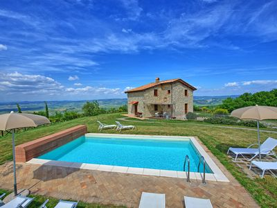 Photo for Large stone-built villa with private swimming pool, 4 bedrooms and amazing views