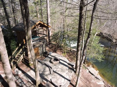 The prettiest river frontage you will find and with a fire pit and hot tub!