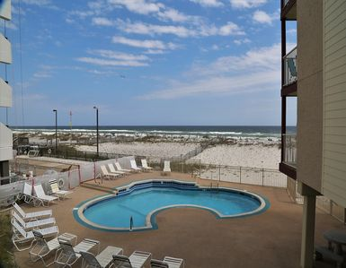 Photo for Southern Sands 104  Excellent Gulf View private balcony / Clean & Comfortable, On the Beach / Walk t
