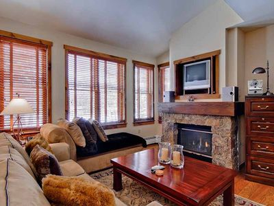 Photo for Relax in this cozy condo with summer time mountain views, pool & hot tub