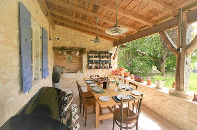 Alfresco dining on the shady, south facing, front terrace