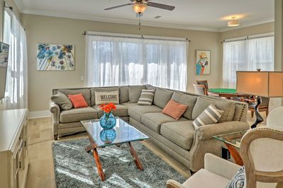 Look forward to relaxing on the comfy couches in the second floor living area.