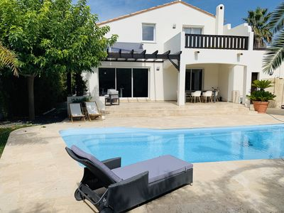 Photo for RECENT Villa 130m2, St Cyprien Beach 700m, Large Heated Pool, Quiet, Wifi