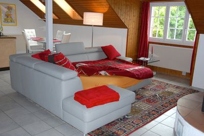Sofa in living room easily unfolds into a twin bed