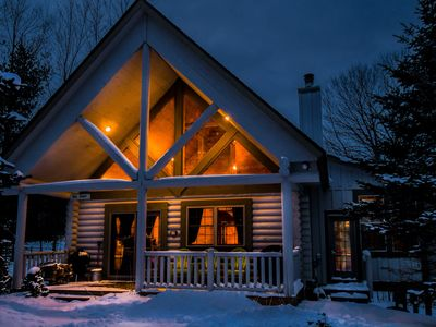 Photo for Cute & Charming 3 Bedroom Log Home w/ Hot Tub in quiet community!
