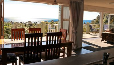 View from kitchen and dining to  Golden Bay
