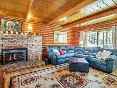 Photo for Log cabin w/ private hot tub & rustic charm! Walk to beach!