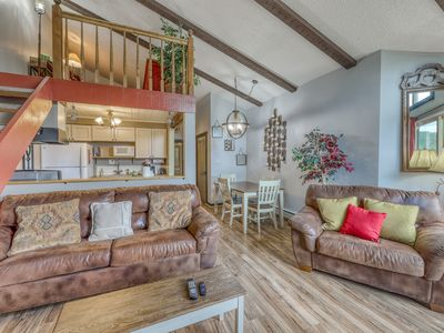 Photo for NEW LISTING! Mountain views at this dog-friendly condo w/ fireplace, & deck!