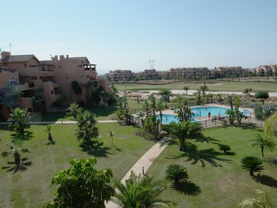 Photo for Family friendly apartment in a golf resort with pool. 6 km from the coast.