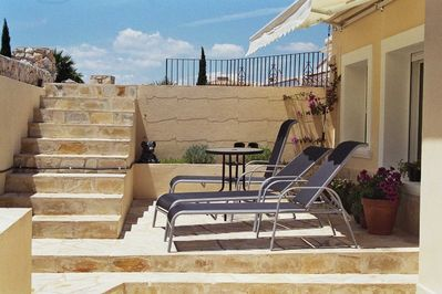 Top sun terrace and off road parking spaces