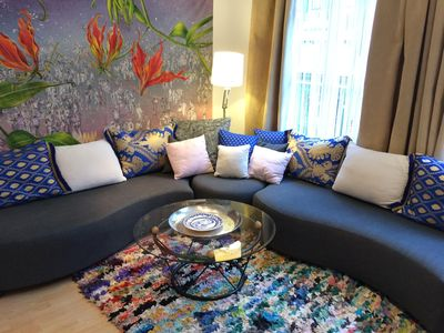Wrap around Sofa - Front Living Room with Cable TV